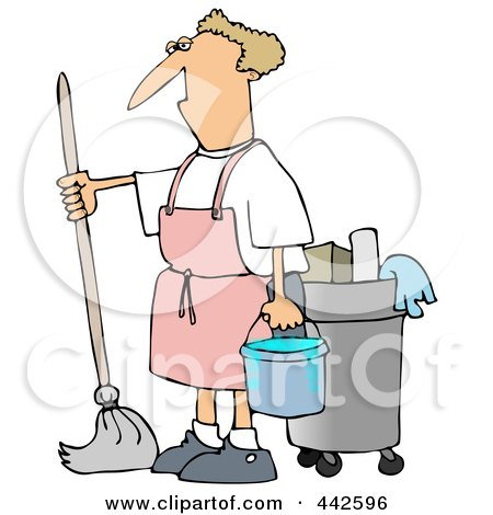 Royalty-Free (RF) Clip Art Illustration of a Man Mopping In A Pink Apron by djart