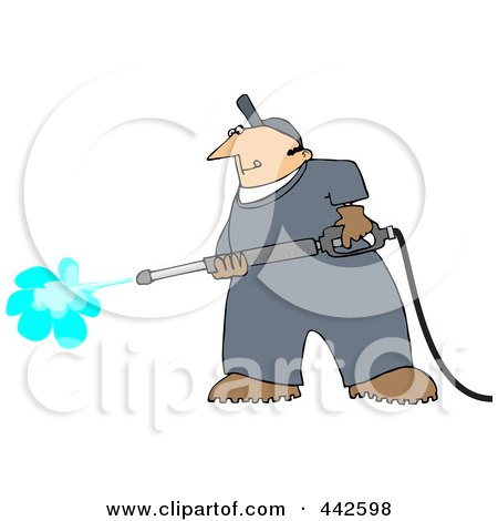Royalty-Free (RF) Clip Art Illustration of a Pressure Washer Man by djart