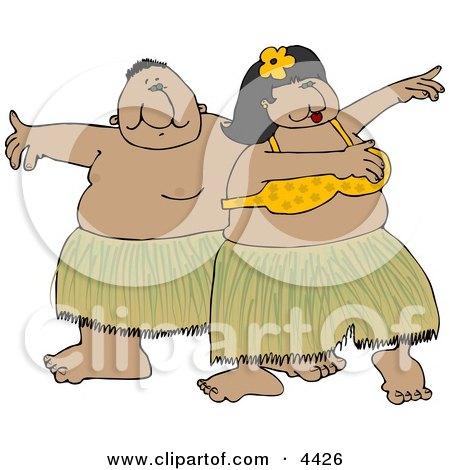 Hawaiian Man and Woman Hula Dancing Together In Hawaii Attire Clipart by djart