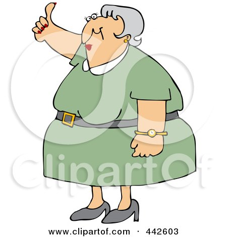 Royalty-Free (RF) Clip Art Illustration of an Old Woman Holding A Thumb Up by djart