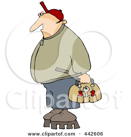 Royalty-Free (RF) Clip Art Illustration of a Worker Man Wearing Shoes With Tall Soles by djart