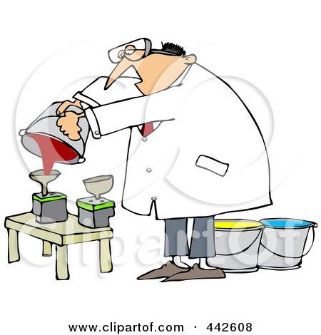 Royalty-Free (RF) Clip Art Illustration of a Man Refilling Printer Ink Cartridges by djart