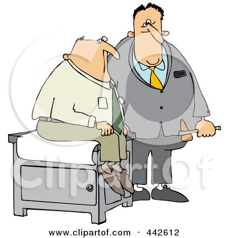 Royalty-Free (RF) Clip Art Illustration of a Doctor Holding A Reflex Hammer By His Patient by djart