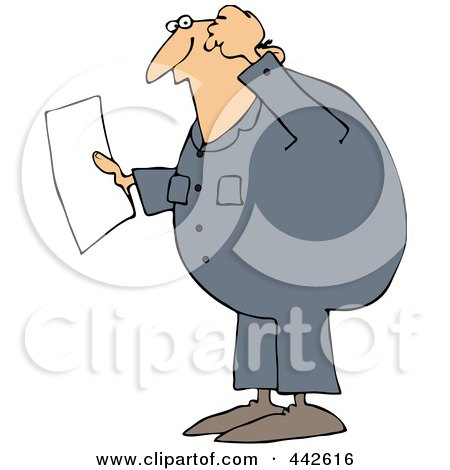 Royalty-Free (RF) Clip Art Illustration of a Confused Worker Man Reading A Document by djart