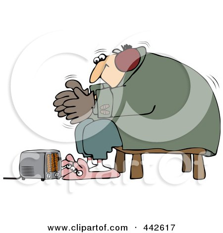 Royalty-Free (RF) Clip Art Illustration of a Cold Man Wearing Bunny Slippers And Muffs By A Space Heater by djart