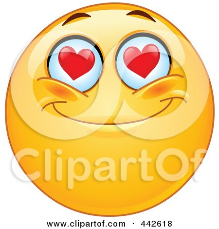 Romantic Emoticon With Heart Eyes Posters, Art Prints