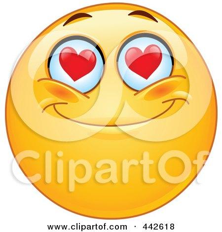 Royalty-Free (RF) Clip Art Illustration of a Romantic Emoticon With Heart Eyes by yayayoyo