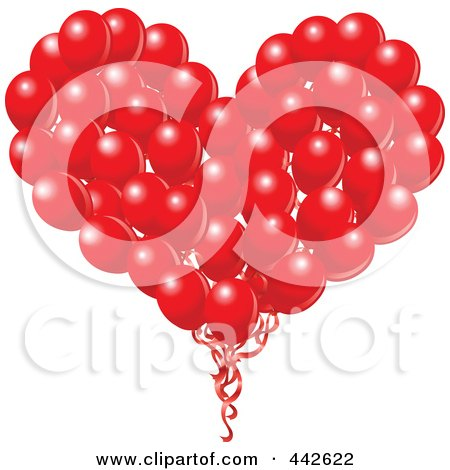 Royalty-Free (RF) Clip Art Illustration of a Big Red Heart Formed Of Balloons by yayayoyo