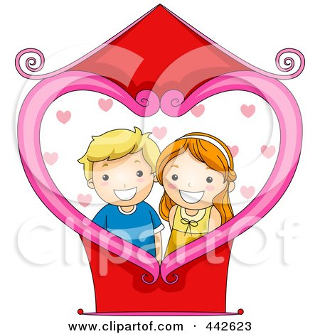 Royalty-Free (RF) Clip Art Illustration of a Boy And Girl Photo With A Heart Frame by BNP Design Studio