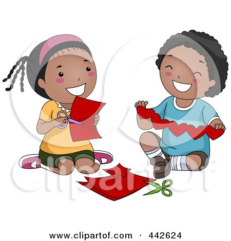 Royalty-Free (RF) Clip Art Illustration of a Black Boy And Girl Making Paper Hearts by BNP Design Studio