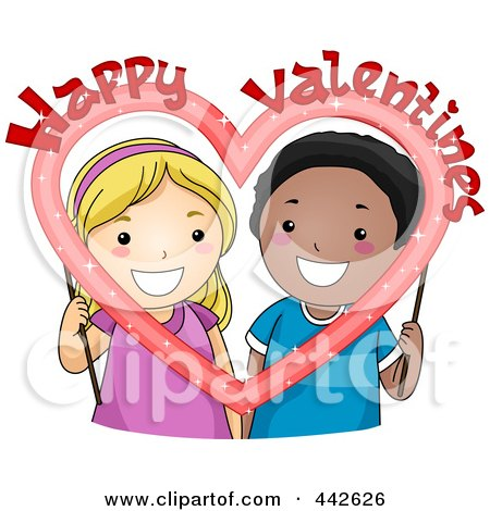Royalty-Free (RF) Clip Art Illustration of a Boy And Girl Holding A Happy Valentine Frame by BNP Design Studio