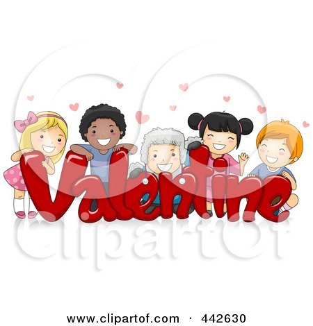 Royalty-Free (RF) Clip Art Illustration of a Group Of Kids On The Word VALENTINE by BNP Design Studio
