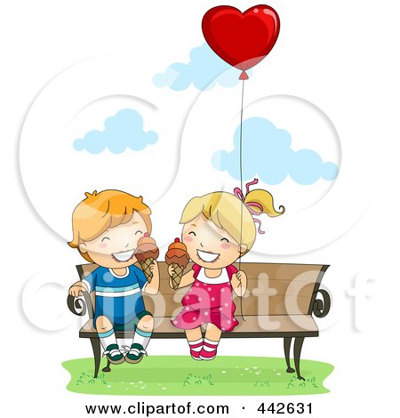 Royalty-Free (RF) Clip Art Illustration of a Boy And Girl Eating Ice Cream Cones On A Bench With A Heart Balloon by BNP Design Studio