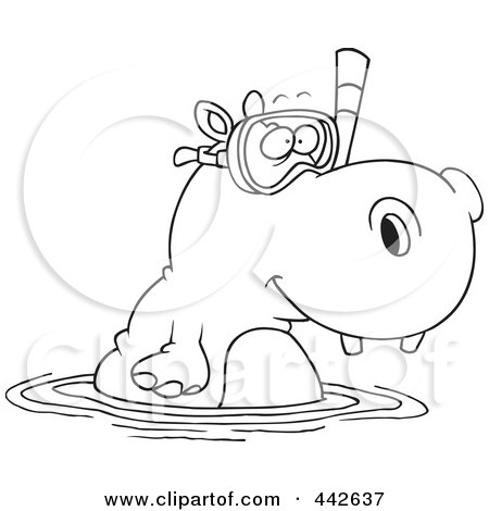 Royalty-Free (RF) Clip Art Illustration of a Cartoon Black And White Outline Design Of A Snorkeling Hippo by toonaday