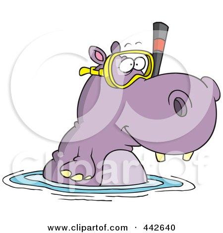 Cartoon Snorkeling Hippo Posters, Art Prints