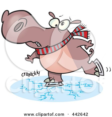 Royalty-Free (RF) Clip Art Illustration of a Cartoon Hippo Skating On Cracking Ice by toonaday