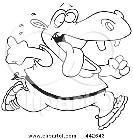 Royalty-Free (RF) Clip Art Illustration of a Cartoon Black And White Outline Design Of A Hippo Running by toonaday