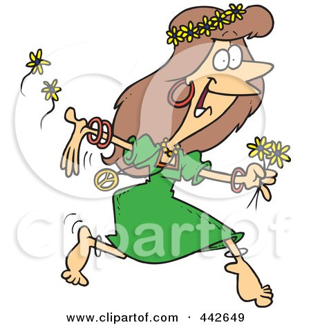 Cartoon Hippie Woman Running With Flowers Posters, Art Prints