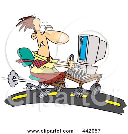 Royalty-Free (RF) Clip Art Illustration of a Cartoon Businessman Using A Computer On A Highway by toonaday