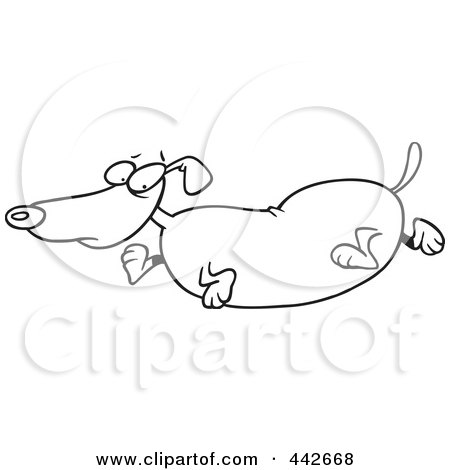 Royalty-Free (RF) Clip Art Illustration of a Cartoon Black And White Outline Design Of An Obese Wiener Dog by toonaday