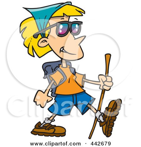 Royalty-Free (RF) Clip Art Illustration of a Cartoon Hiking Lady by toonaday