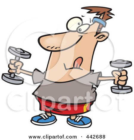 Royalty-Free (RF) Clip Art Illustration of a Cartoon Man Exercising With Dumbbells by toonaday