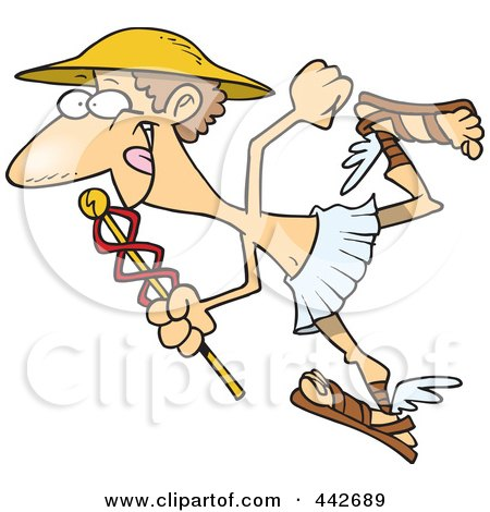 Royalty-Free (RF) Clip Art Illustration of a Cartoon Hermes With A Staff by toonaday
