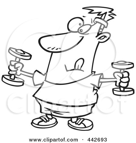 Royalty-Free (RF) Clip Art Illustration of a Cartoon Black And White Outline Design Of A Man Exercising With Dumbbells by toonaday