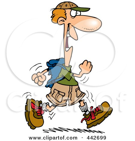 Royalty-Free (RF) Clip Art Illustration of a Cartoon Happy Male Hiker by toonaday