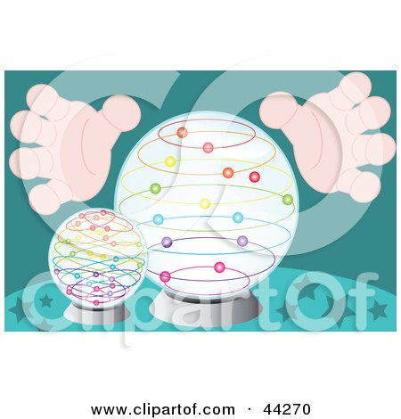 Clipart Illustration of a Mystic's Hands Around Crystal Balls by kaycee