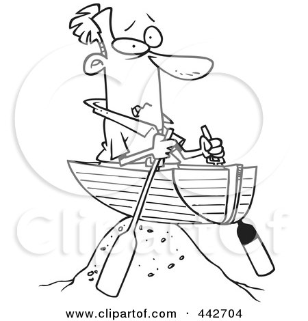 Royalty-Free (RF) Clip Art Illustration of a Cartoon Black And White Outline Design Of A Man Left High And Dry In A Boat by toonaday