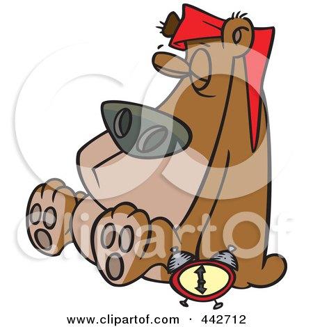 Royalty-Free (RF) Clip Art Illustration of a Cartoon Hibernating Bear by toonaday