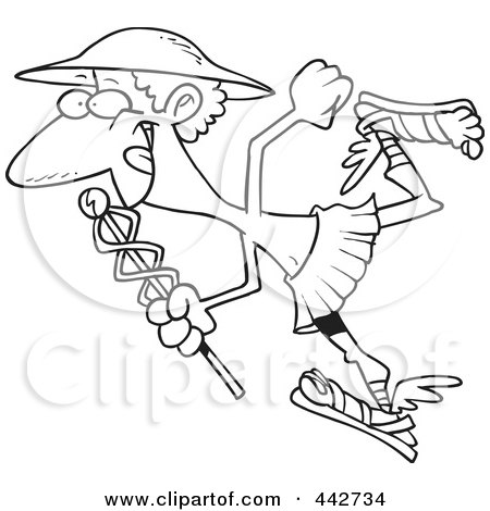 Royalty-Free (RF) Clip Art Illustration of a Cartoon Black And White Outline Design Of Hermes With A Staff by toonaday