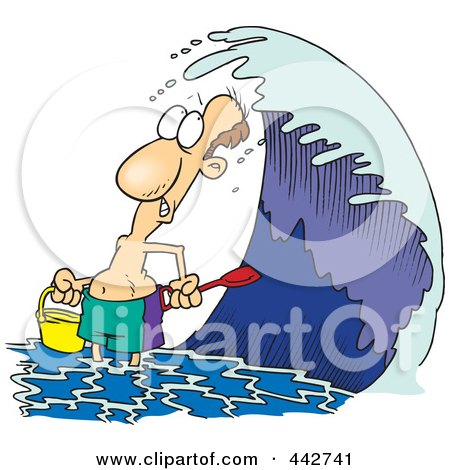 Royalty-Free (RF) Clip Art Illustration of a Cartoon Man Playing On A Beach At High Tide by toonaday