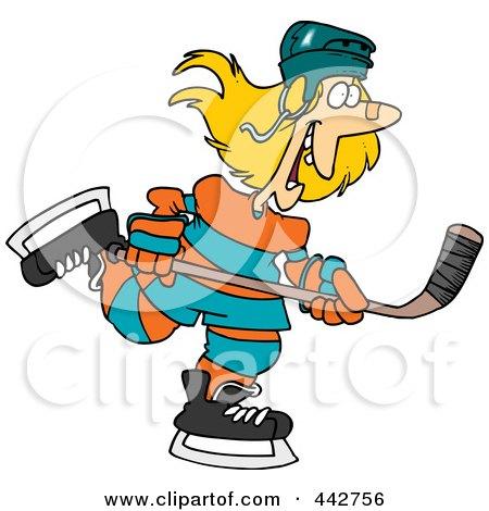 Royalty-Free (RF) Clip Art Illustration of a Cartoon Female Hockey Player by toonaday