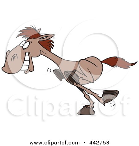 Royalty-Free (RF) Clip Art Illustration of a Cartoon Galloping Horse by toonaday
