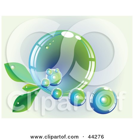Reflective Blue And Green Bubble With Leaves Posters, Art Prints