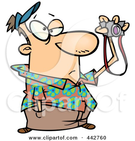 Royalty-Free (RF) Clip Art Illustration of a Cartoon Bored Man Taking Pictures by toonaday