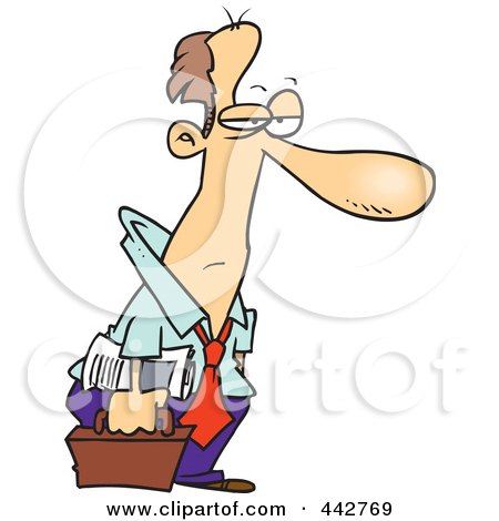 Royalty-Free (RF) Clip Art Illustration of a Cartoon Tired Businessman Heading Home by toonaday