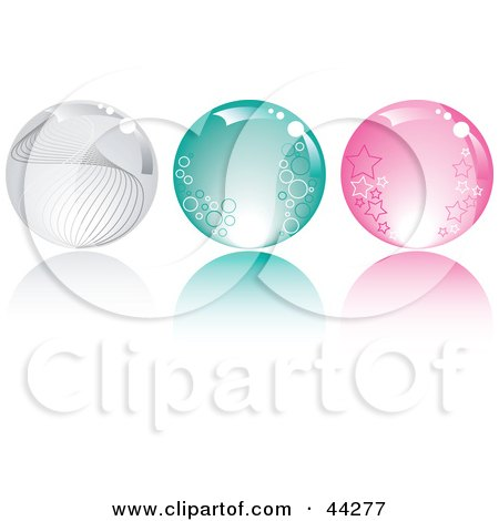 Collage Of Clear, Green And Pink Crystal Balls With Stars, Circles And Waves Posters, Art Prints