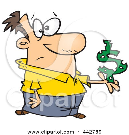 Royalty-Free (RF) Clip Art Illustration of a Cartoon Man Holding A Dollar Symbol With Holes by Ron Leishman