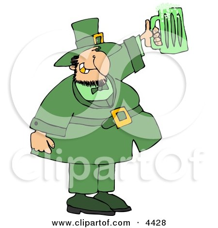 Saint Patrick's Day Irish Man Holding a Green Beer Mug Clipart by djart
