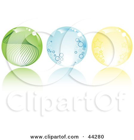 Collage Of Green, Blue And Yellow Crystal Balls With Stars, Circles And Waves Posters, Art Prints