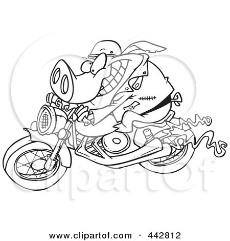 Royalty-Free (RF) Clip Art Illustration of a Cartoon Black And White Outline Design Of A Biker Pig by toonaday