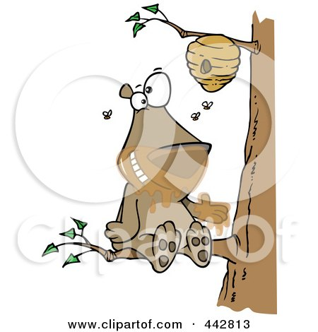 Royalty-Free (RF) Clip Art Illustration of a Cartoon Bear Sitting On A Branch And Getting Honey by toonaday