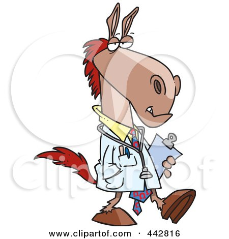 Royalty-Free (RF) Clip Art Illustration of a Cartoon Doctor Horse by toonaday