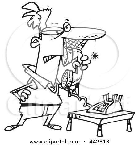 Royalty-Free (RF) Clip Art Illustration of a Cartoon Black And White Outline Design Of A Man Waiting On Hold With Cobwebs On His Face by toonaday