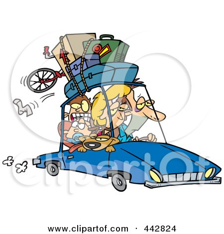 Royalty-Free (RF) Clip Art Illustration of a Cartoon Exhausted Family Homeward Bound From A Road Trip by toonaday