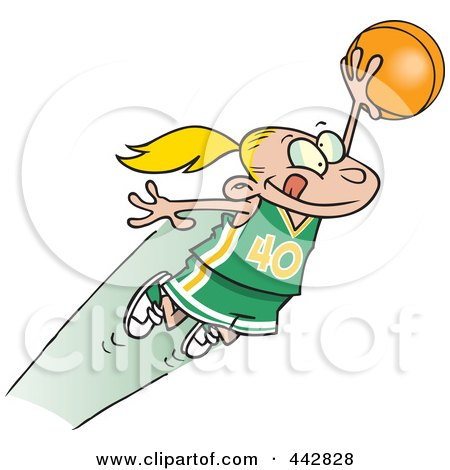 Royalty-Free (RF) Clip Art Illustration of a Cartoon Girl Leaping With A Basketball by toonaday