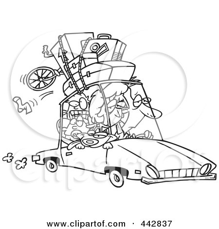 Cartoon Black And White Outline Design Of An Exhausted Family Homeward Bound From A Road Trip